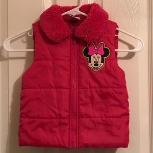 Bright pink Minnie Mouse puffy vest 5t